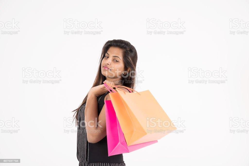 young woman shopping stock photo