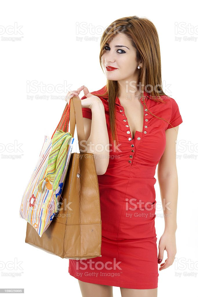 Young Woman Shopping with Bags royalty-free stock photo