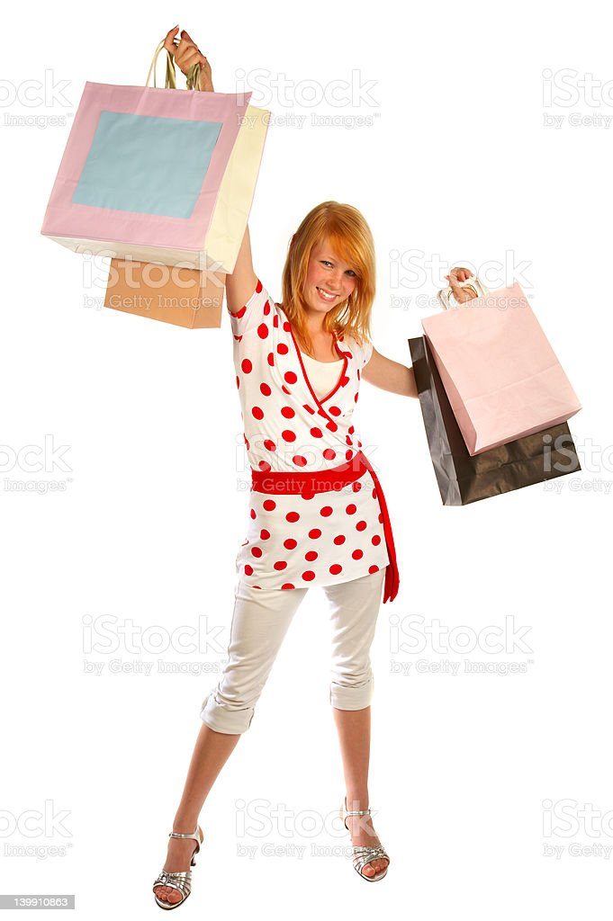 Young woman shopping..bigtime. royalty-free stock photo