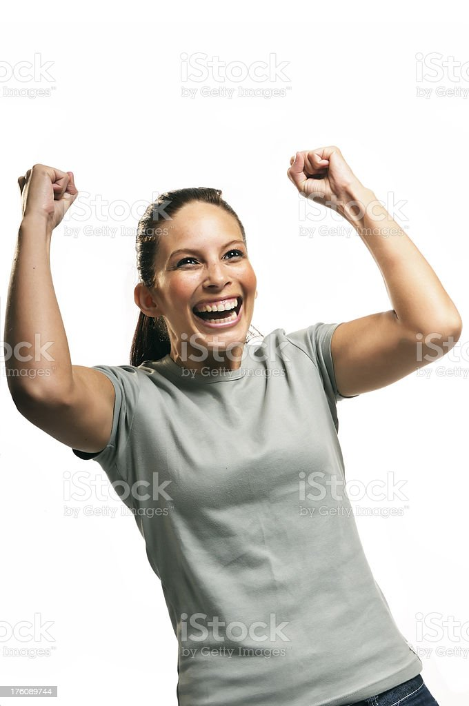 Young woman shouting with joy and victory royalty-free stock photo
