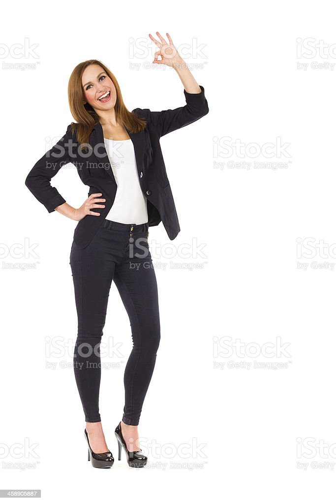 Young woman showing ok sign. royalty-free stock photo