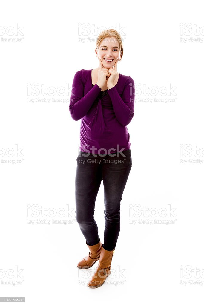 Young woman showing smiley face royalty-free stock photo