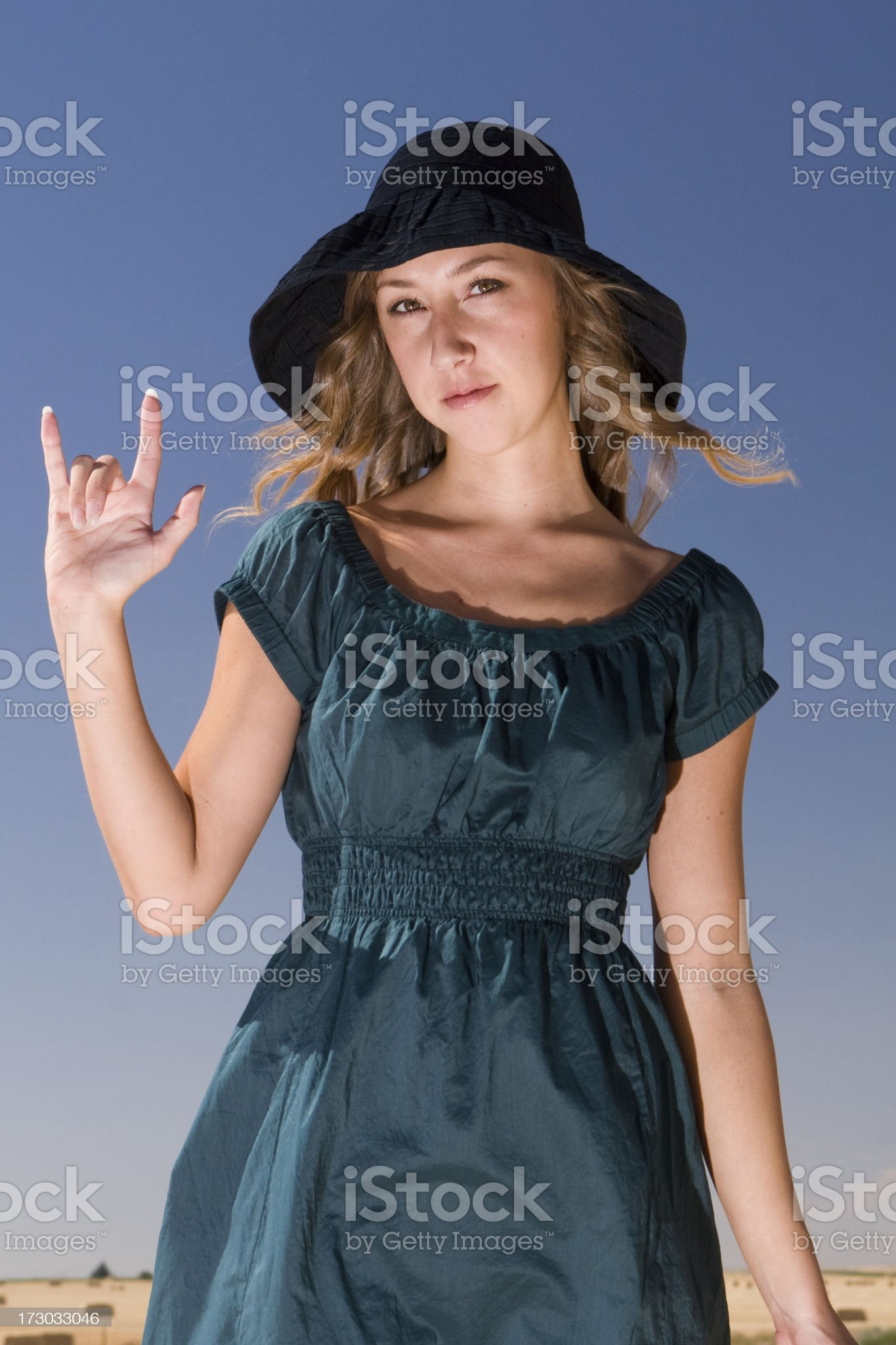 Young Woman showing the Love Sign royalty-free stock photo