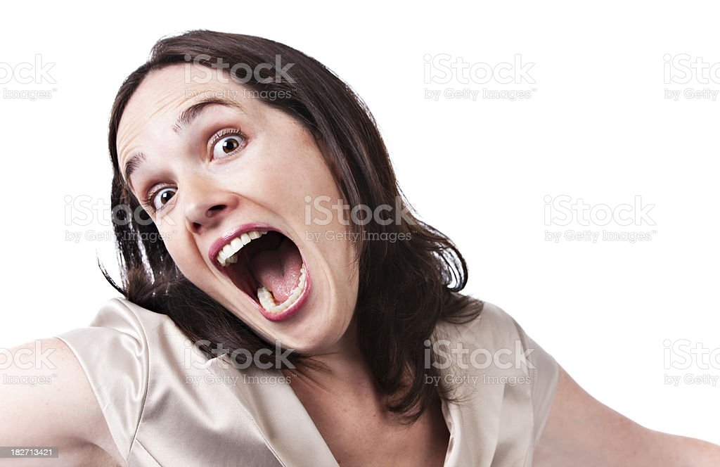 Young woman shows her excitement stock photo