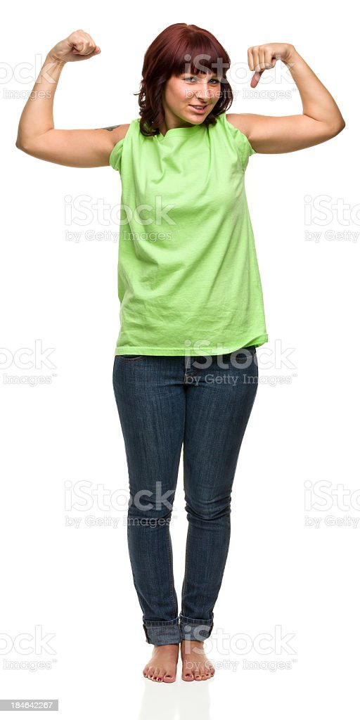 Young Woman Shows Off Muscles royalty-free stock photo