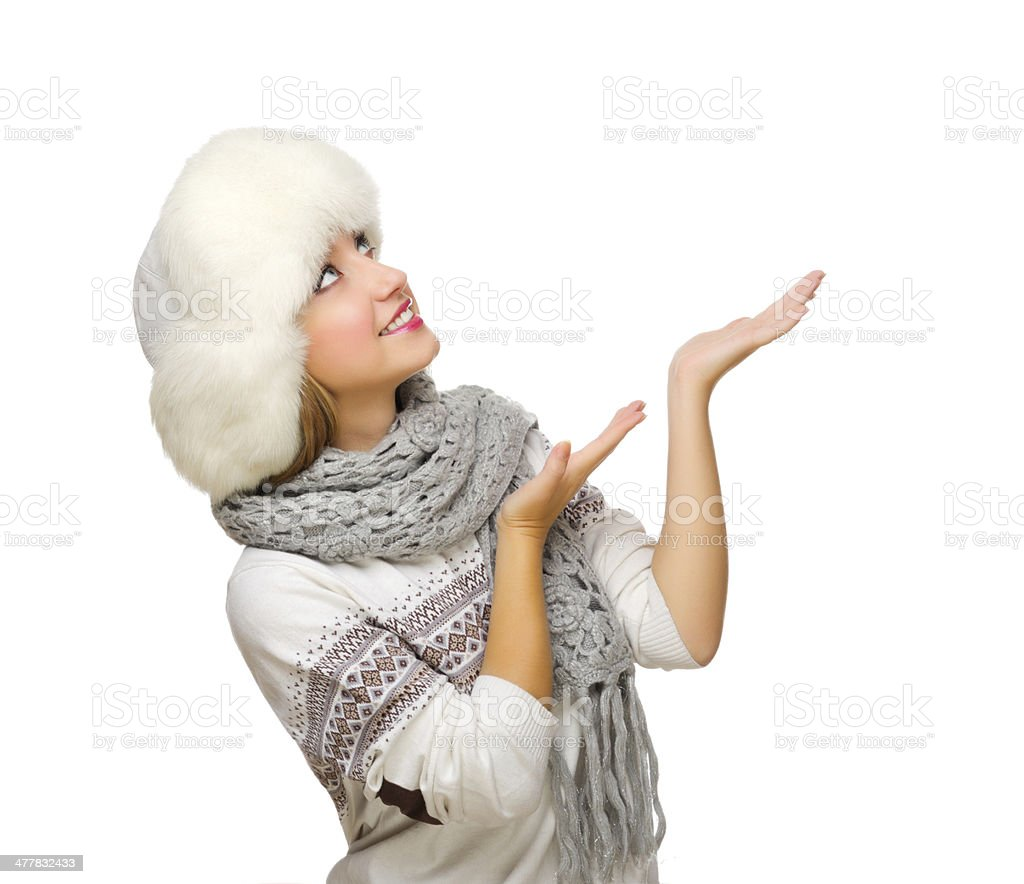 Young woman shows pointing gesture royalty-free stock photo