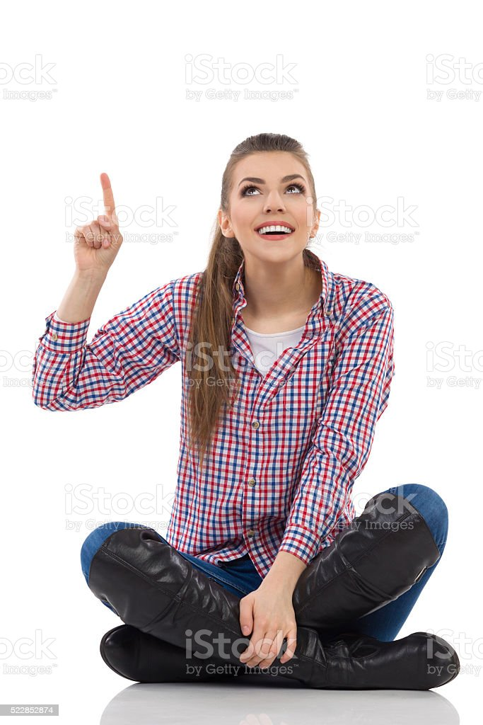 Young Woman Sitting And Notice stock photo