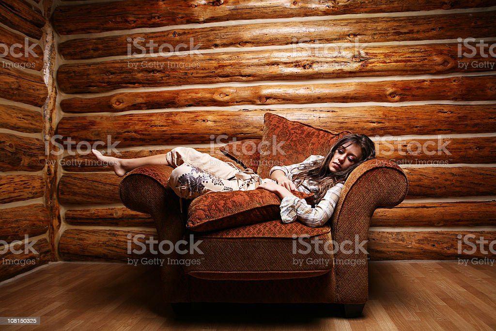 Young Woman Sitting Big Chair royalty-free stock photo
