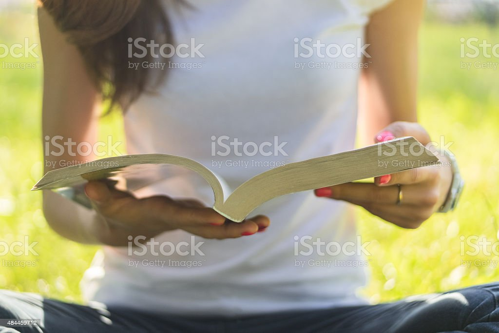 Young woman sitting on a meadow with book stock photo