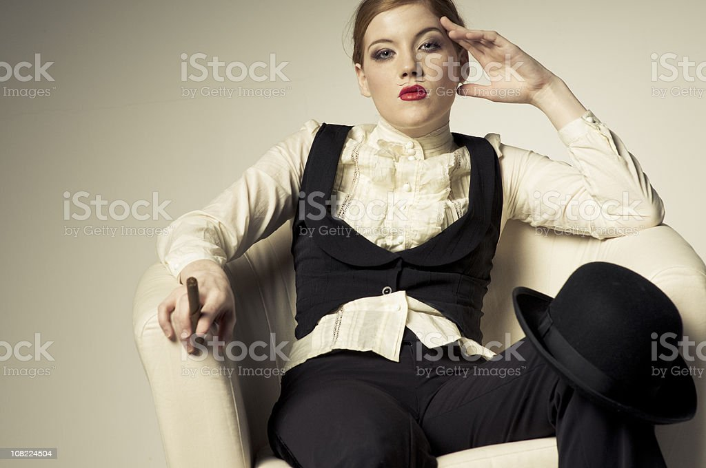 Young Woman Sitting on Chair stock photo