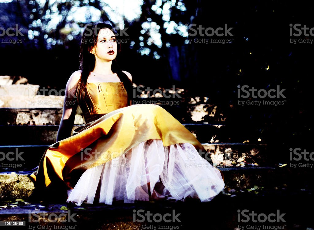 Young Woman Sitting on Steps royalty-free stock photo
