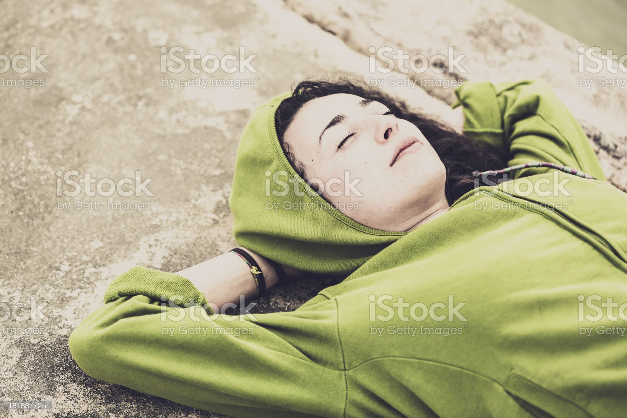 Young woman sleeping outdoor royalty-free stock photo