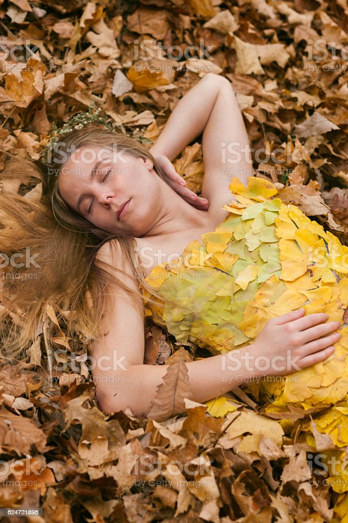 Young woman sleeps in autumn leaves stock photo