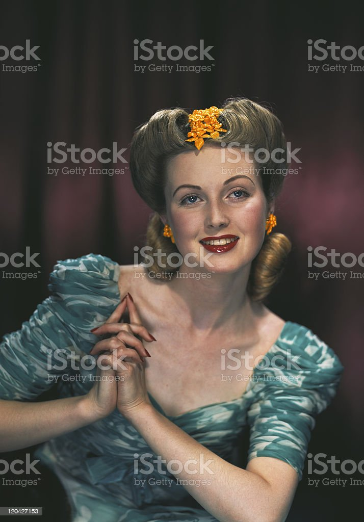 Young woman smiling, close-up royalty-free stock photo