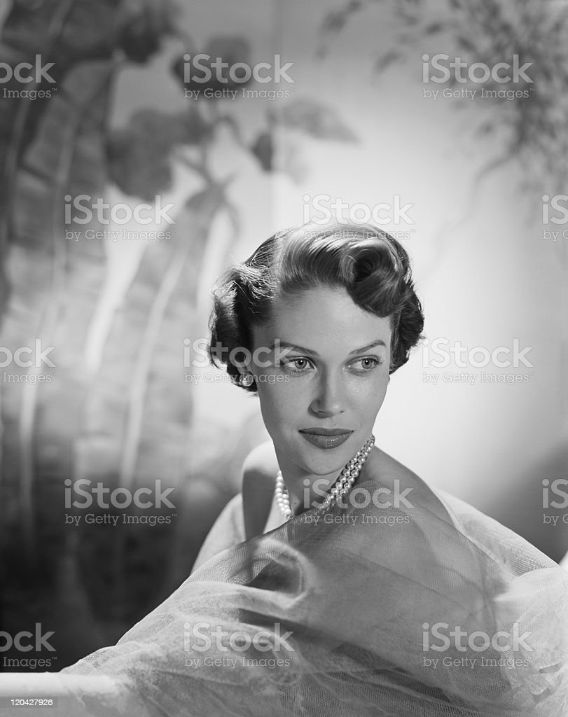 Young woman smiling, close-up  stock photo