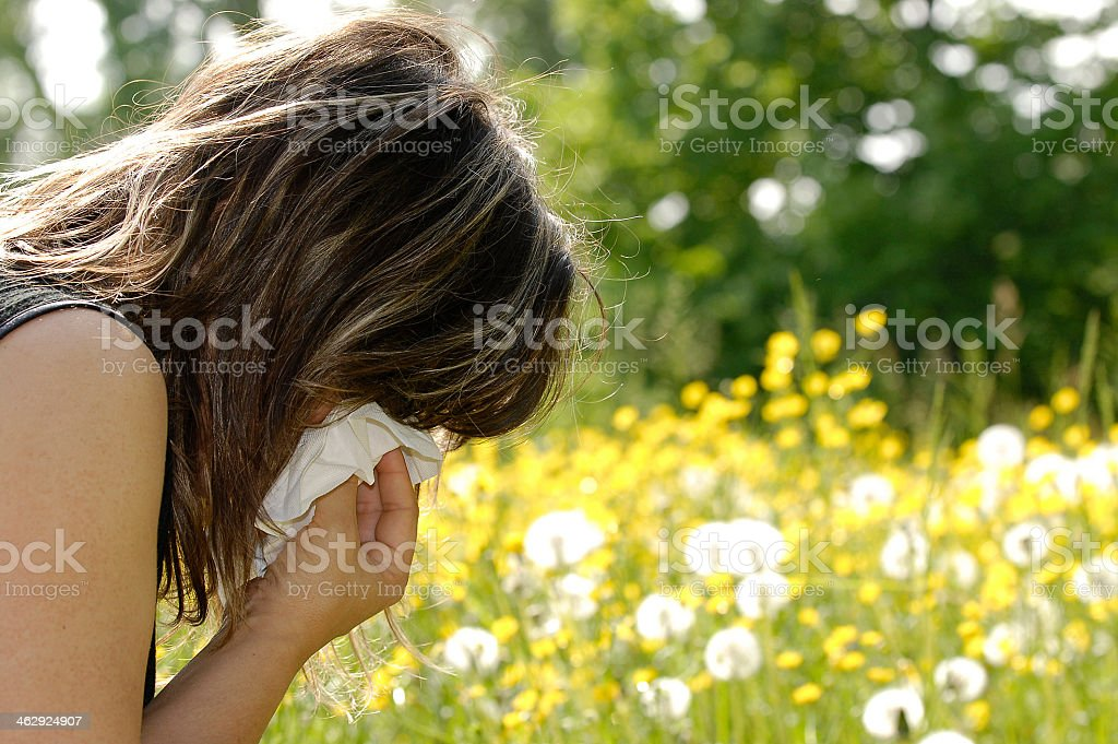 A young woman sneezing into a tissue in a field stock photo