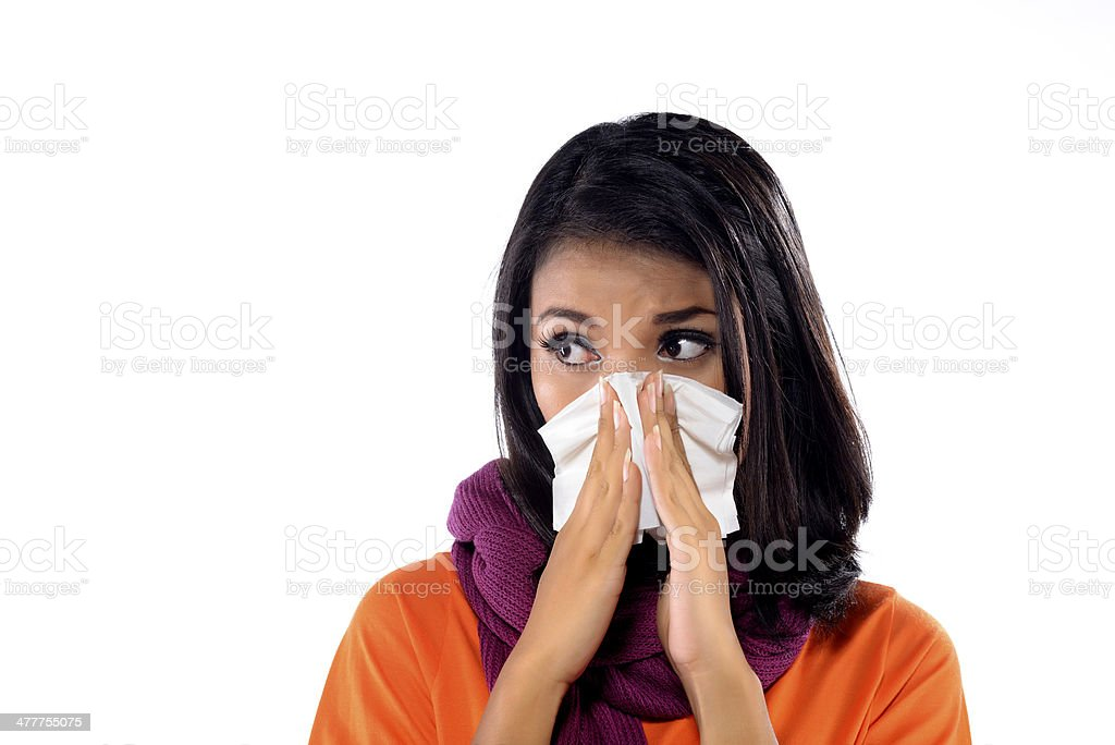 Young Woman Sneezing royalty-free stock photo