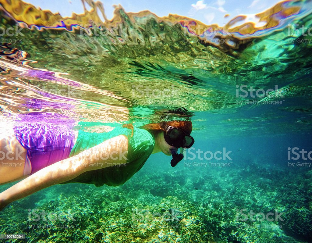 Young woman snorkling in Bali coral reef stock photo