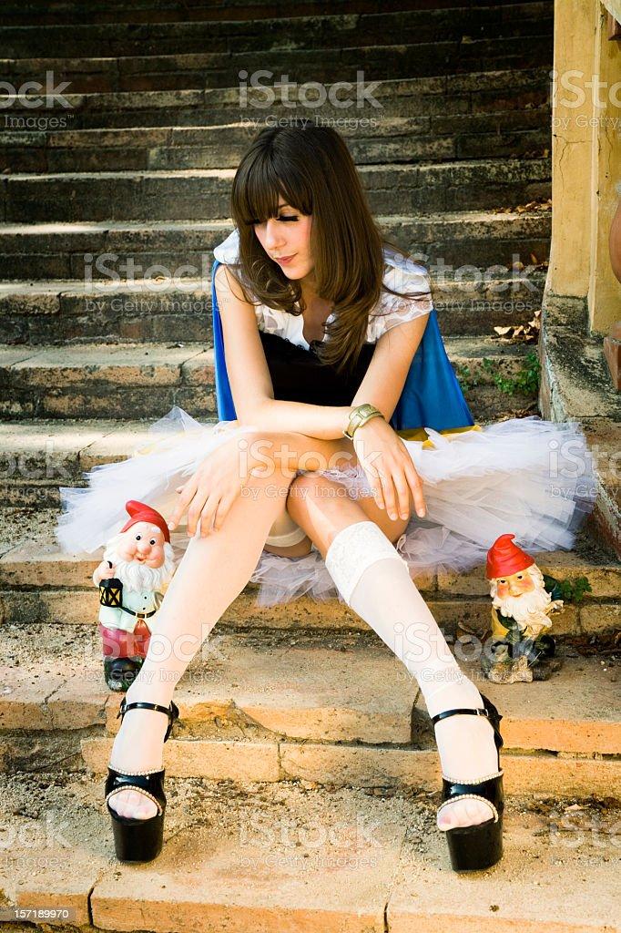 young woman snow white stock photo