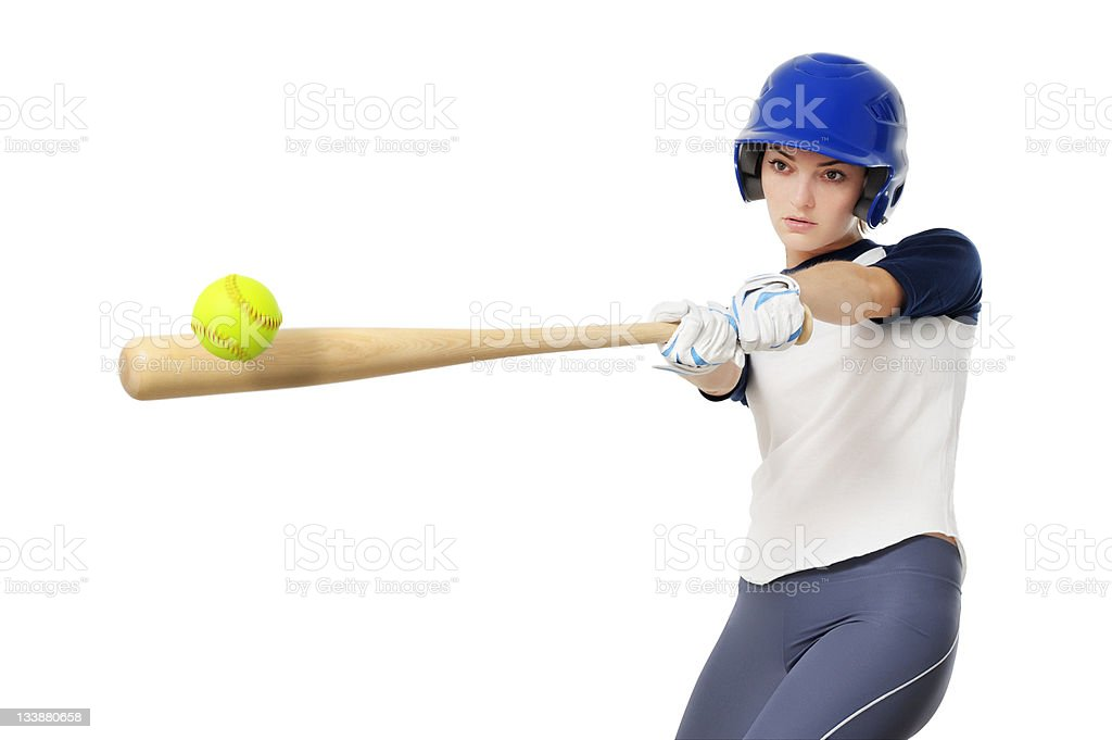 Young Woman Softball Baseball Player Isolated on White Background stock photo