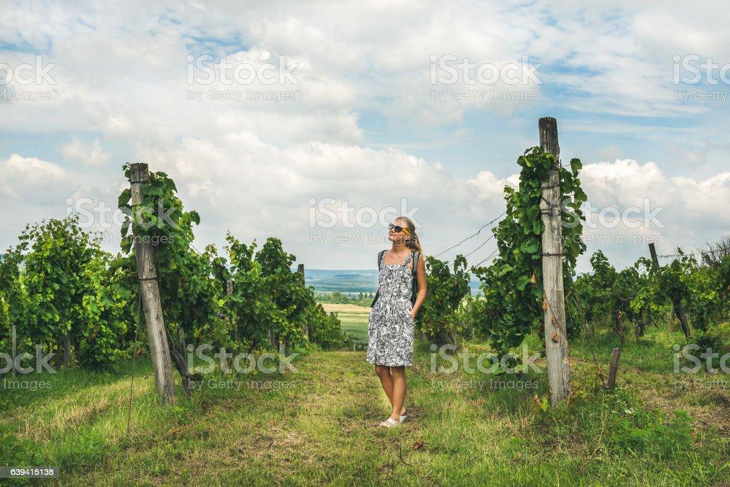 Young woman standing at Tihany wineyards, Hungary stock photo
