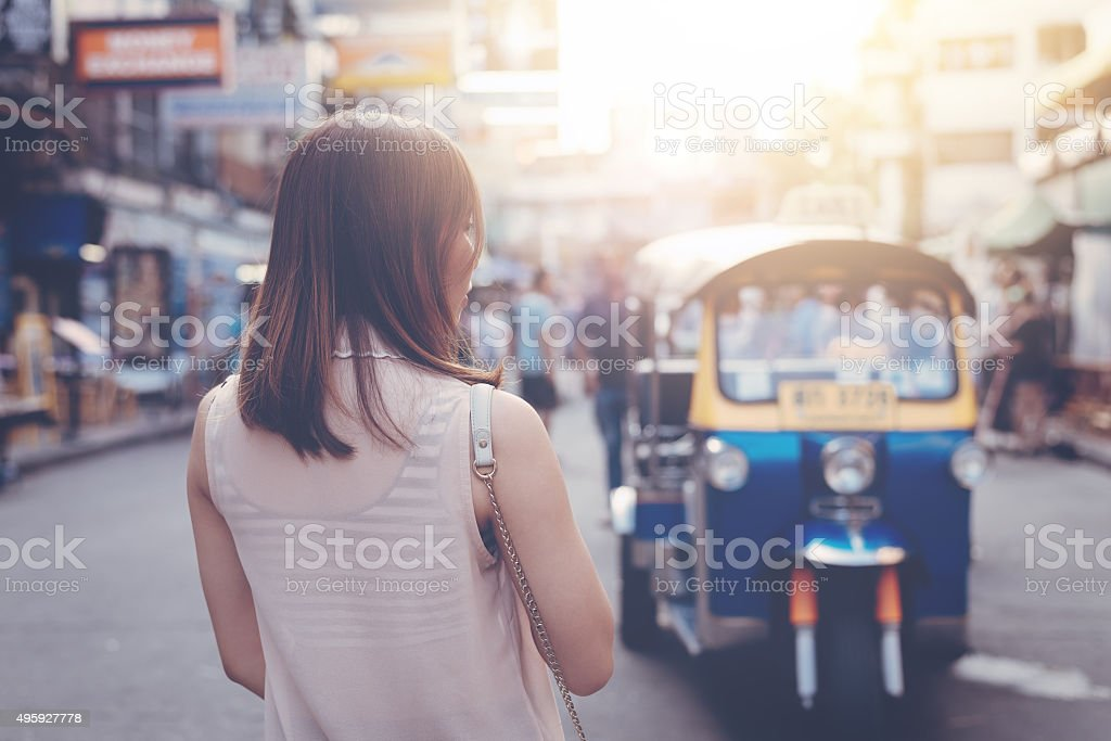 Young woman standing in Bangkok,Thailand stock photo