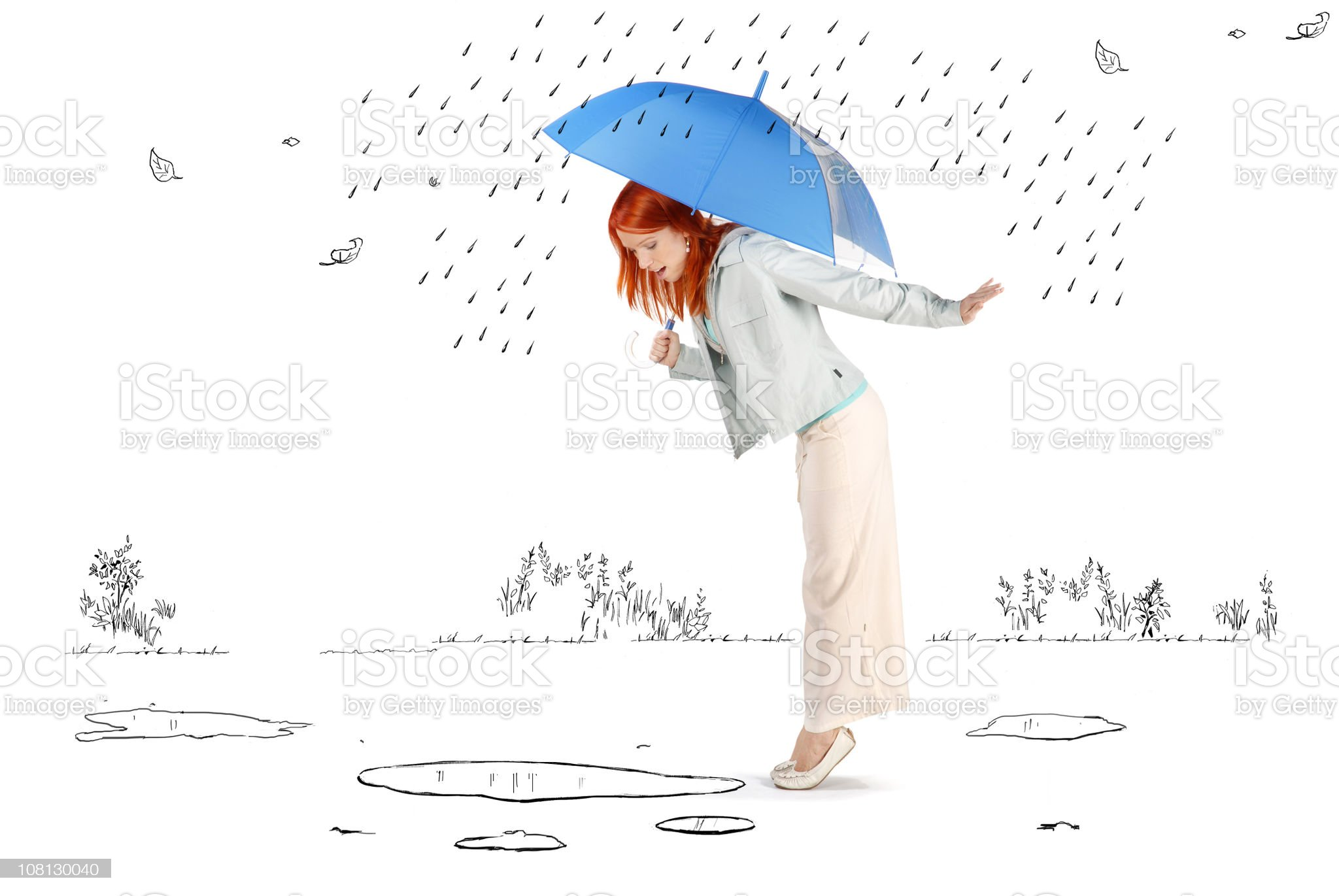 Young Woman Standing in Cartoon Rain and Puddles royalty-free stock vector art