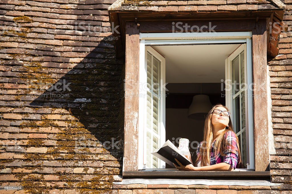 Young woman standing on rooftop window and reading a book stock photo