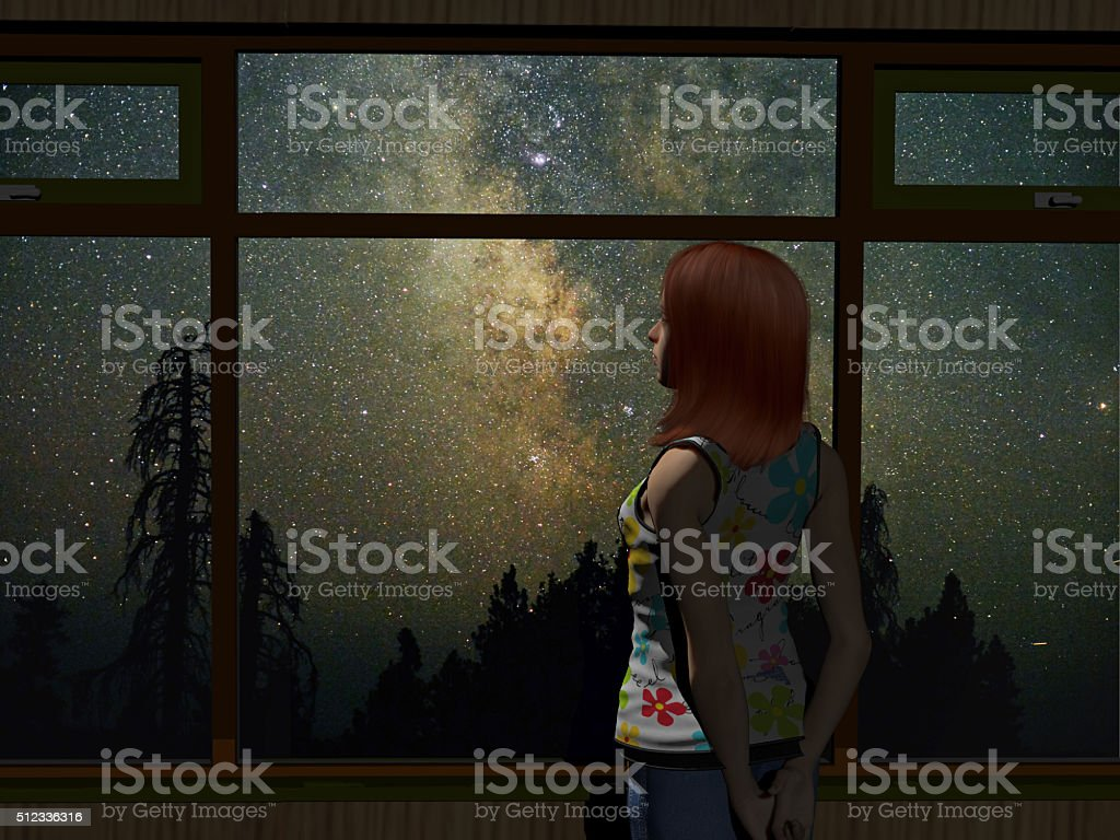 young woman starring out the window at the milky way stock photo