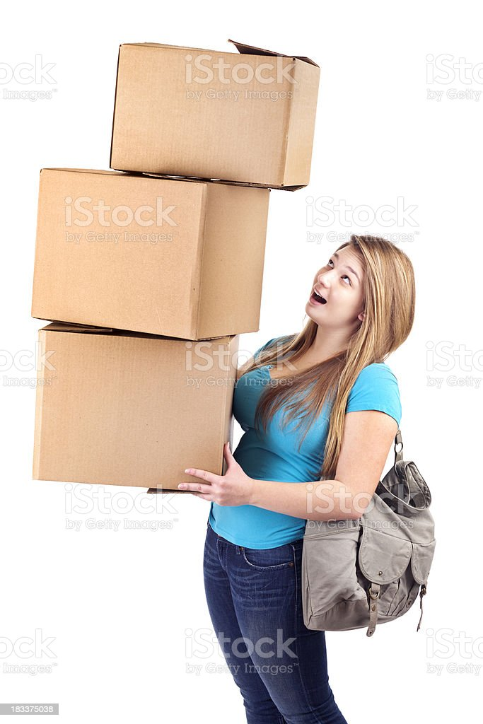 Young Woman Student Moving Boxes into School Dorm on White royalty-free stock photo