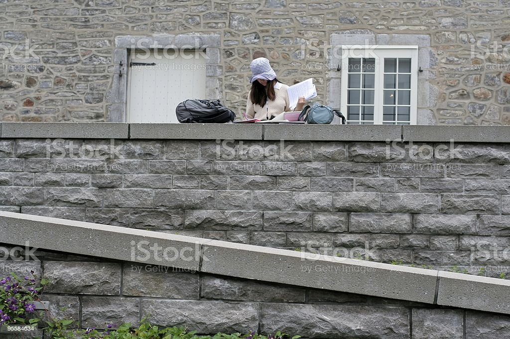 Young woman studying on top of a stone wall. royalty-free stock photo