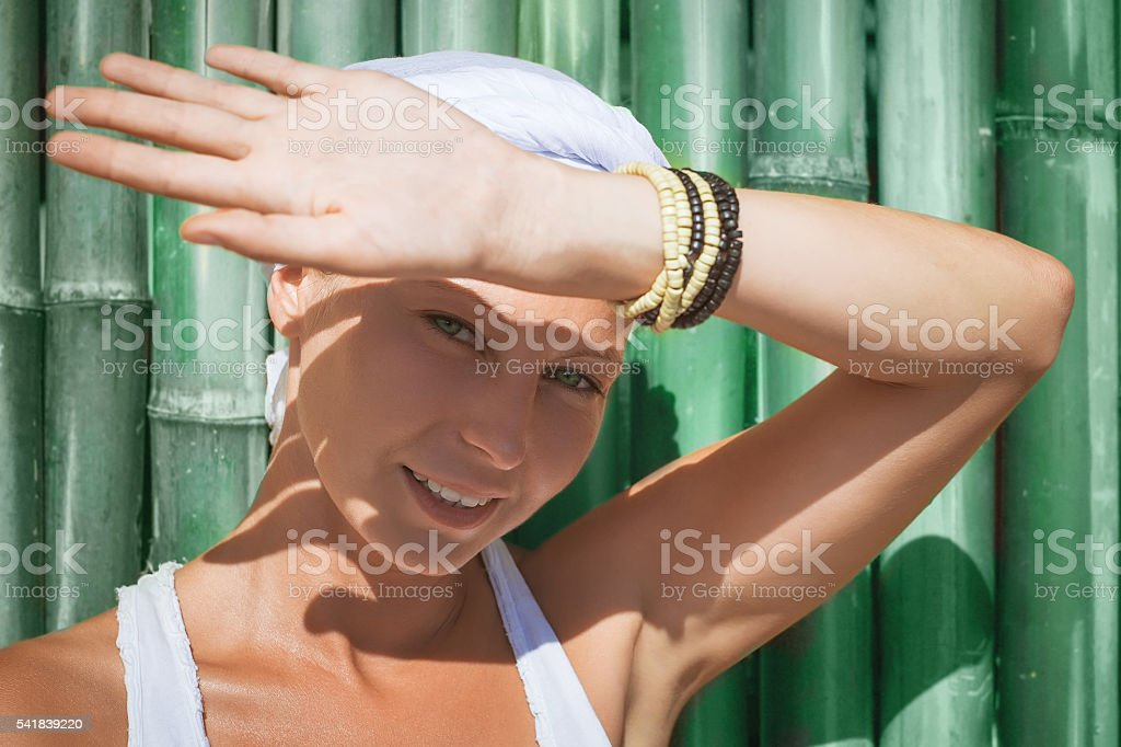 young woman summer beach portrait stock photo