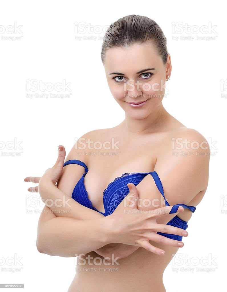 young woman takes off bra royalty-free stock photo