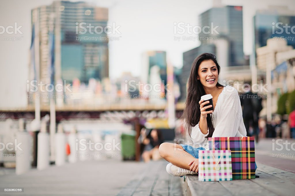 Young woman taking a coffee break, Sydney stock photo