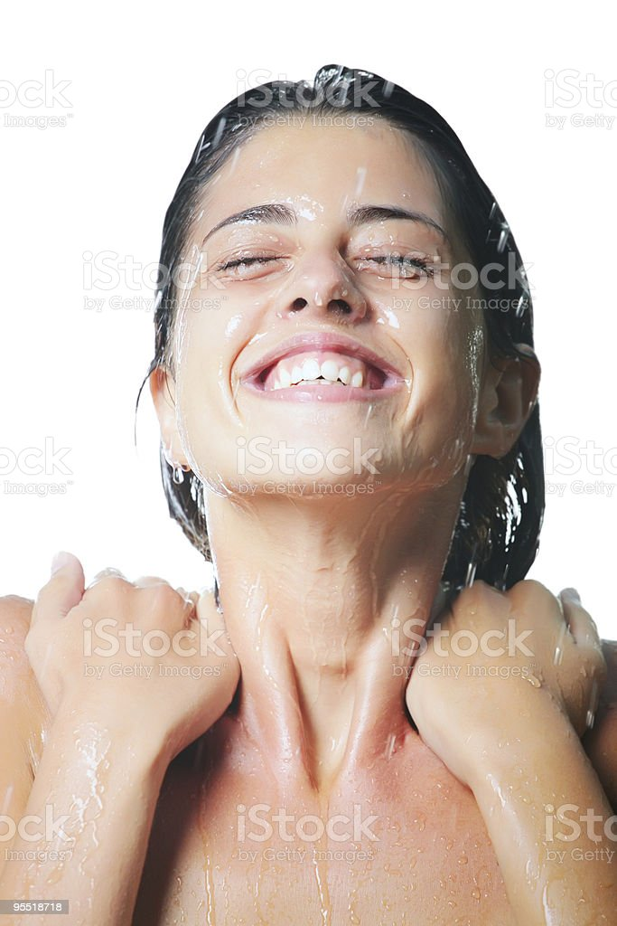 Young woman taking a shower royalty-free stock photo