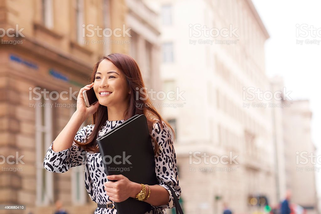 young woman taking her cv to the city stock photo