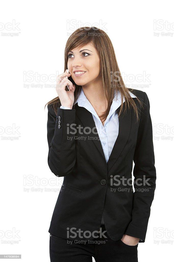 Jeune femme parler sur téléphone portable isolé photo libre de droits