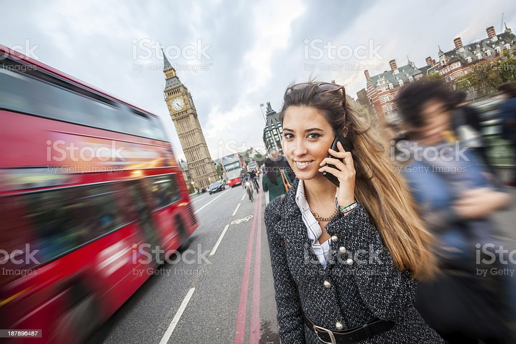 Young Woman Talking on Mobile in London stock photo
