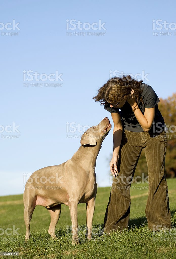 young woman talking to her dog royalty-free stock photo