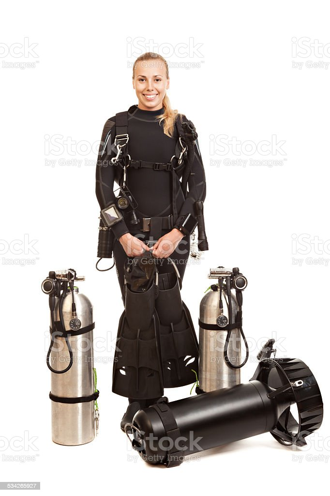 Young woman technical diver. stock photo