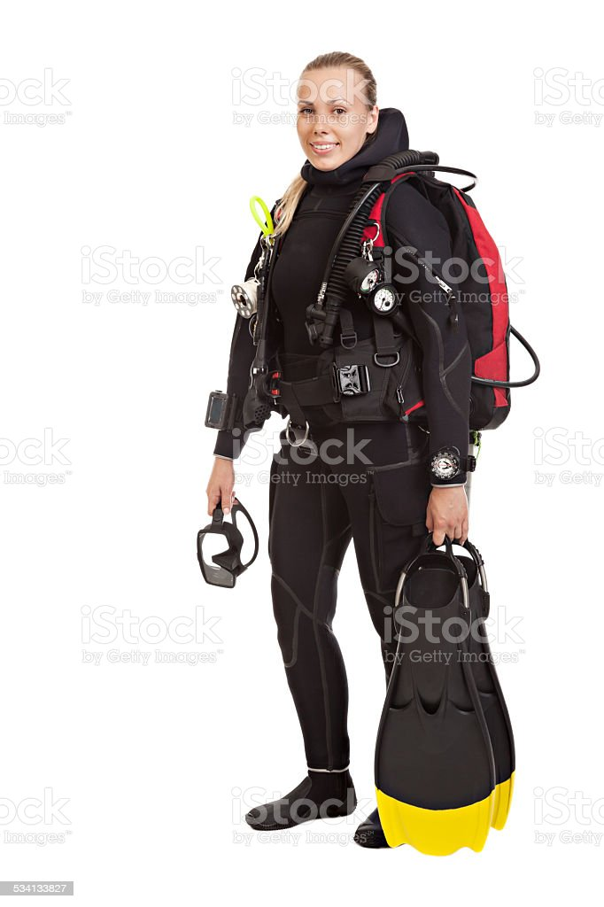 Young woman technical underwater diver. stock photo
