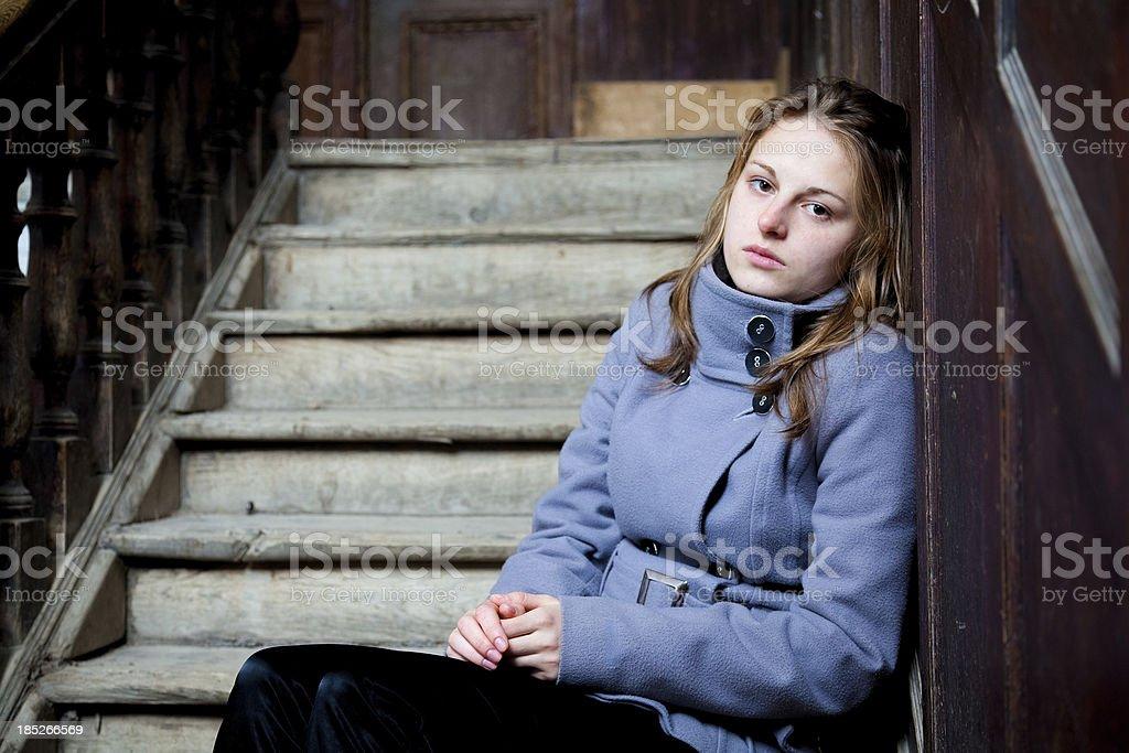 Young woman teenage sadness frustration problem stock photo