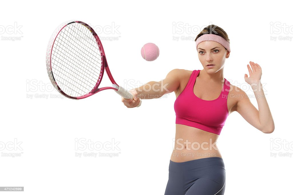 Young Woman Tennis Player Isolated on White Background royalty-free stock photo