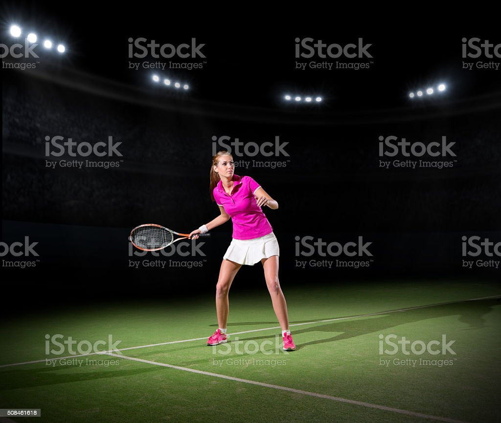 Young woman tennis player stock photo