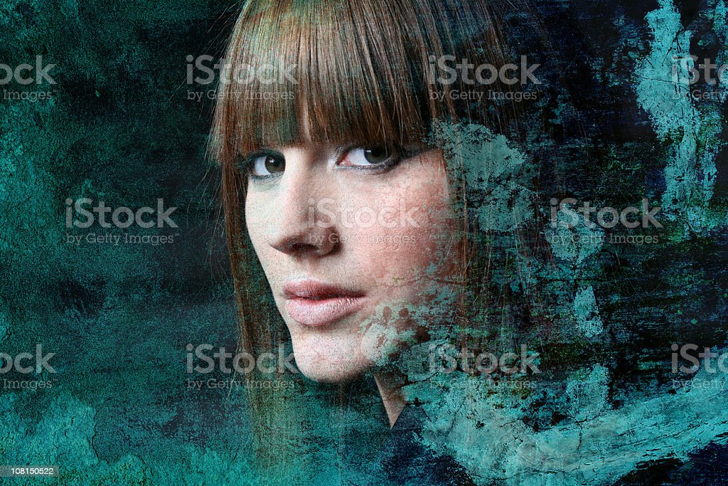 Young Woman, Textured royalty-free stock photo