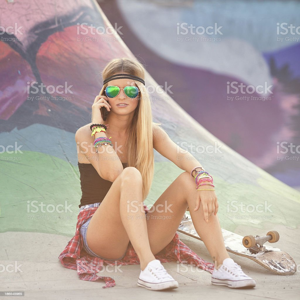 Young woman thelephoning stock photo