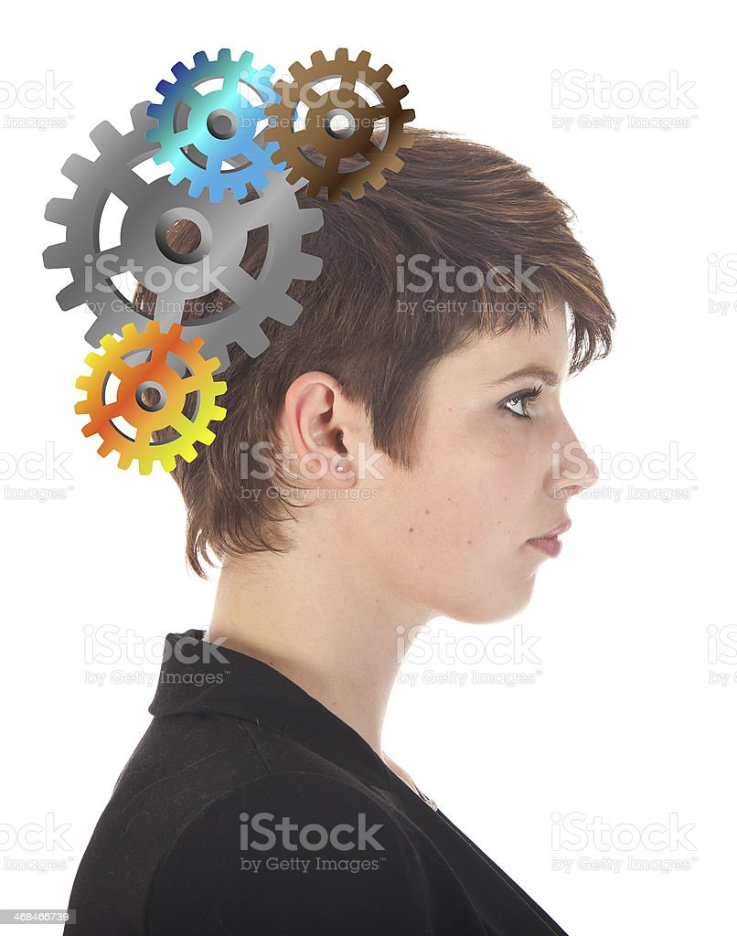 Young woman thinking with gears isolated on white background royalty-free stock photo
