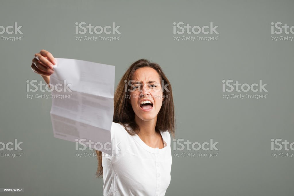 Young woman throwing a temper tantrum stock photo