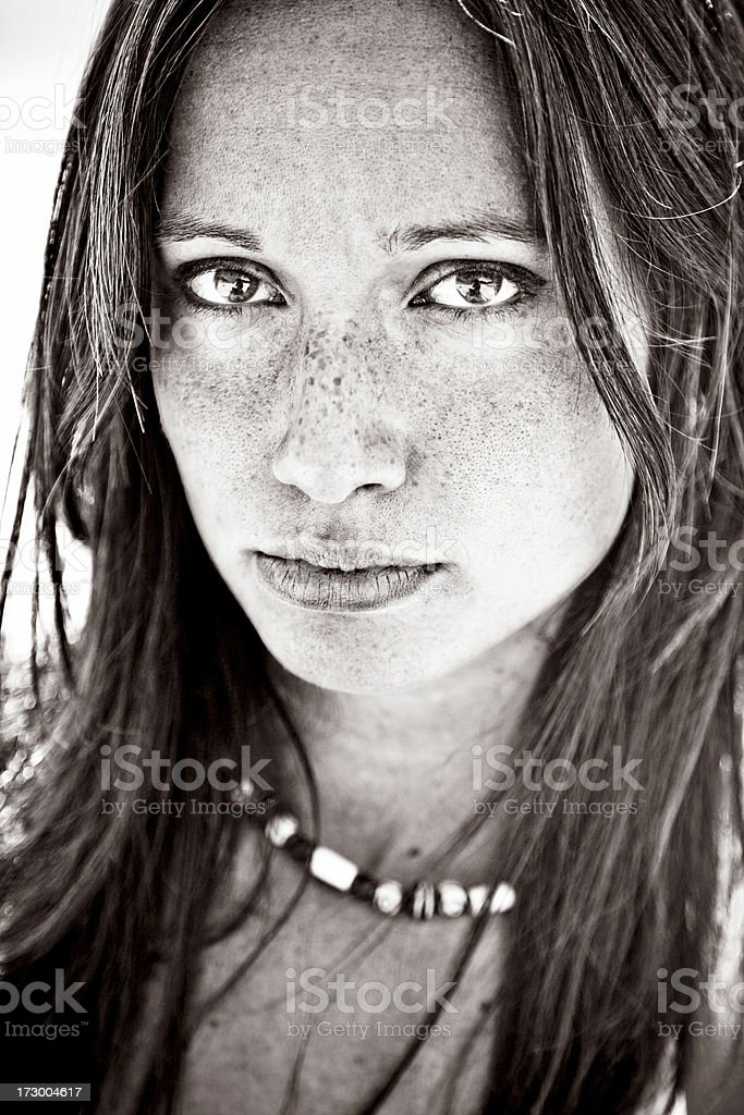 Young woman toned portrait stock photo