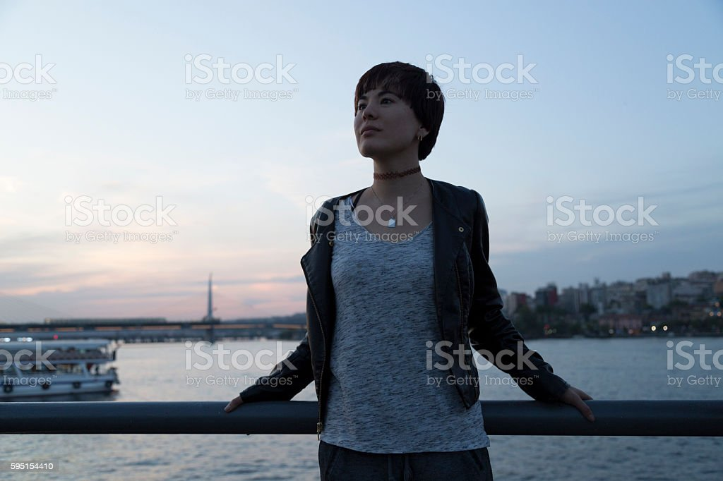 Young Woman Tourist in Istanbul stock photo